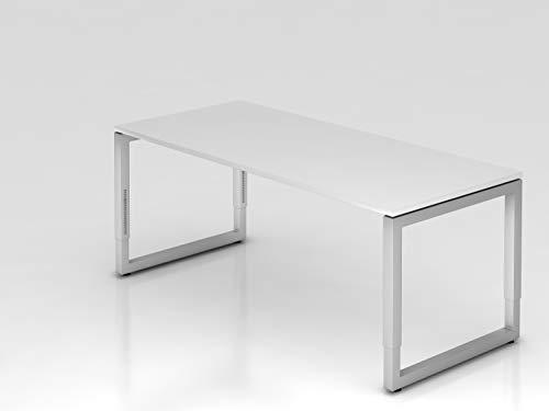 Schreibtisch O-Fuß eckig 180x80cm Weiß