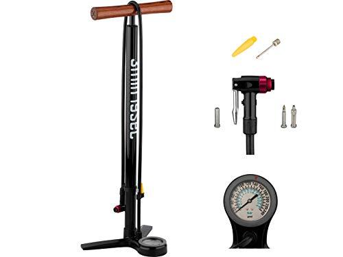 3min19sec Bomba para bicicleta de aluminio con mango de madera, hasta 16 bar / 240 psi, bomba de pie de alta calidad para bicicleta, MTB o bicicleta de carretera, para todas las válvulas con manómetro