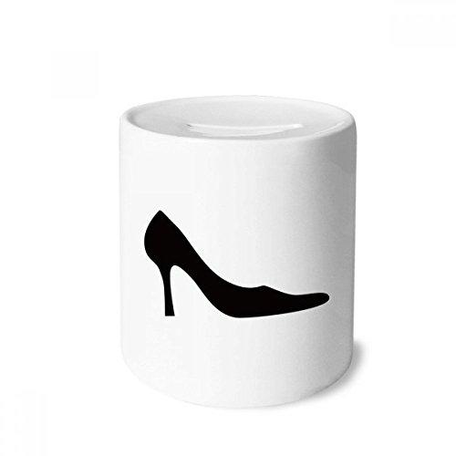 DIYthinker Saltos altos femininos contornados preto padrão caixa de dinheiro caixa de cerâmica porta-moedas presente de cofrinho