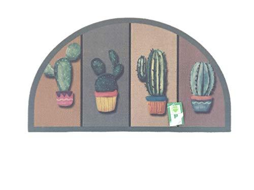 De'Carpet Felpudo Media Luna Entrada Casa Original Divertido Moderno Fibra Poliester Fregable Cactus 40x70