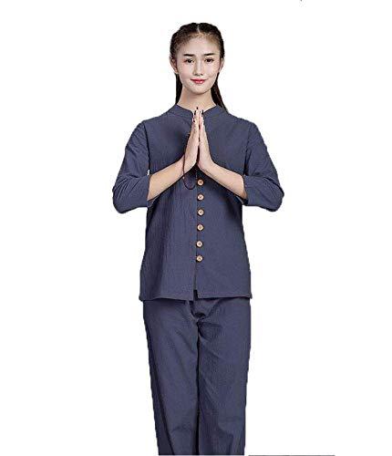 AZWE Tai Chi Uniformen Shaolin Kung Fu V Ecirc; Tements Taekwondo Martiaux V Ecirc; Tements Unisexe Toile De Lin Ensemble Confortable Et Respirant Chinois Style,Blau,**L
