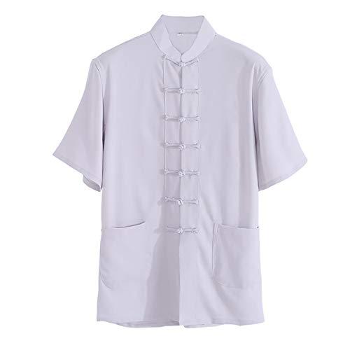 GWBI Herren Sommer Kurzarm Chinesisch Traditionelle Kampfkunst Shirt Kung Fu TopsTai Chi Uniform Kostüm-Ältere Männer Chinesisch Wing Chun Shaolin Kung Fu Kleidung-Grey-XL