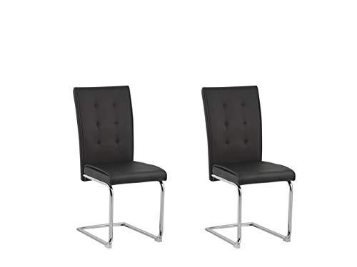 Beliani Rovard - Juego de 2 sillas de comedor (cuero sintético y metal), color negro