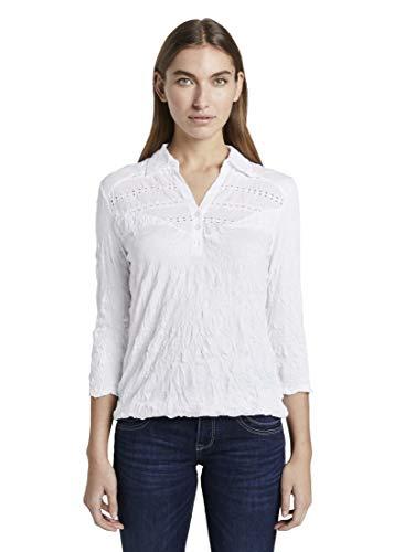 TOM TAILOR Damen Poloshirts Poloshirt in Crincle-Optik mit Spitzeneinsatz White,XL