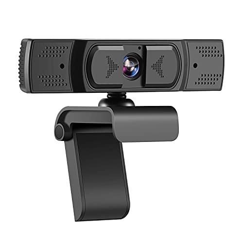 Webcam 1080P, Camera Webcam USB HD avec Microphone Stéréo pour la Diffusion en Ligne en Classe ou au Bureau, Webcam pour PC Compatible avec Windows, Android 5.0, Mac OS 10.6, Linux 10.04 ou Supérieur