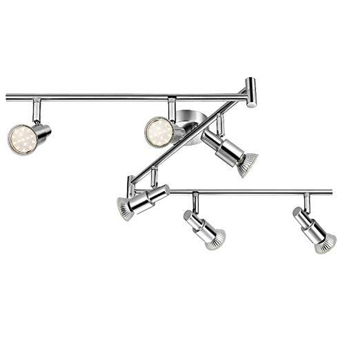 LED Deckenleuchte Deckenlampe, 6-flammig Dreh- und schwenkbar 3W GU10 230V IP20 Metall Warmweiß, für Küche Wohnzimmer Schlafzimmer