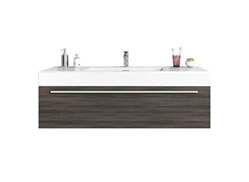 Badezimmer Badmöbel Garcia 120 cm Eiche dunkel - Unterschrank Schrank Waschbecken Waschtisch