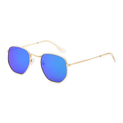 YQSBYI Metall quadratische Rahmen Sonnenbrille Herren- und Frauen Retro Reflektierende Gläser Multicolor Klassische Kleine Gesichtsgläser (Lenses Color : Gold Blue)