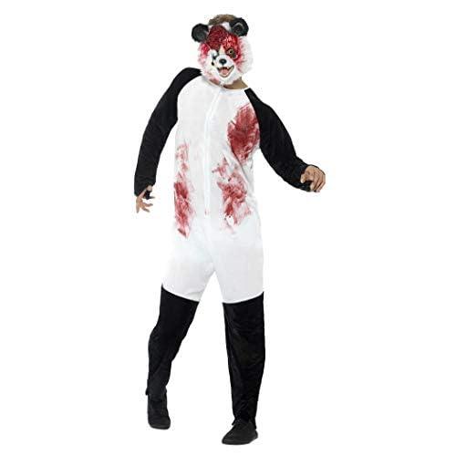 SMIFFYS Costume deluxe panda zombie, Nero e Bianco, con tuta e maschera in E.V.A.