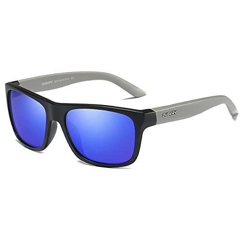 DUBERY - Gafas de sol polarizadas para hombres y mujeres, 100% protección UV, Marco negro gris-lente de espejo azul oscuro, Talla única