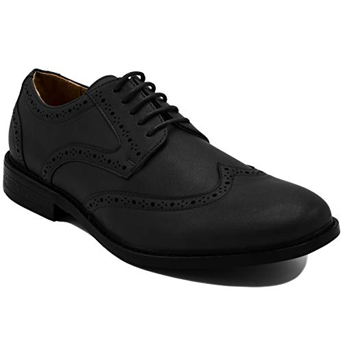 Nautica Men's Dress Shoes Wingtip, Lace Up Oxford Business Casual-Miles-Black Burnished-7.5