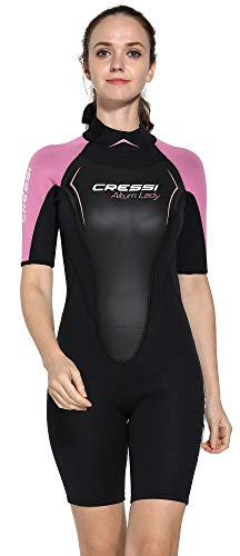 Cressi Altum Lady Wetsuit Shorty Damen Neoprenanzug Premium Neopren 3mm, Schwarz/Pink, Medium
