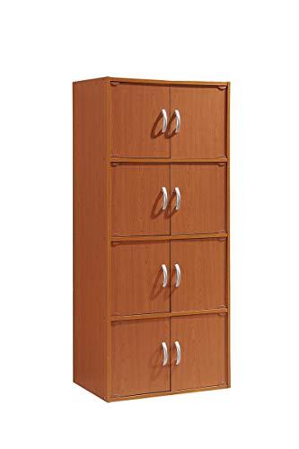 Hodedah 4-Shelf Bookcase Cabinet, Cherry