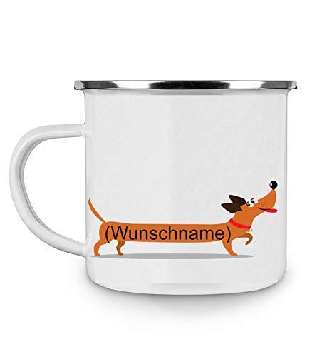 Crealuxe Emailletasse m. Wunschname Motiv Dackel (Wunschname) - Kaffeetasse mit Motiv, Bedruckte Tasse mit Sprüchen oder Bildern