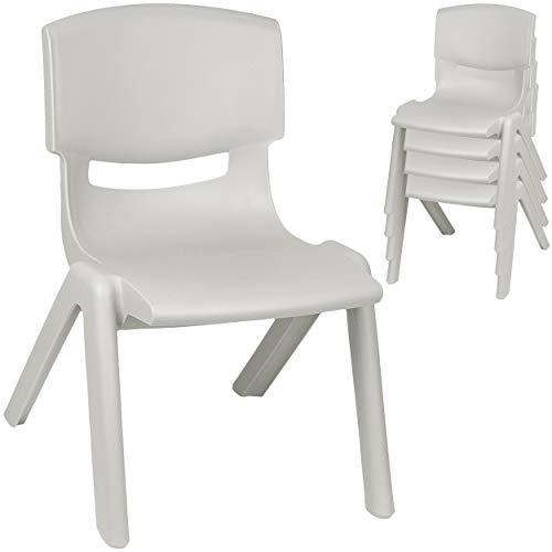 alles-meine.de GmbH 2 Stück - Kinderstühle / Stühle - Farbwahl - grau - Silber - Plastik - bis 100 kg belastbar / kippsicher - für INNEN & AUßEN - 0 - 99 Jahre - stapelbar - Gart..