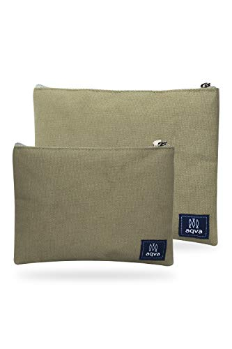 AQVA Pack of 2 Cotton Canvas Multipurpose Cosmetic Organizer Bag With Zipper - Water Resistant Travel Toiletry Pouch, DIY Craft Bag - Perfect for Stationary, Outdoor Activity (Large, Kraft)