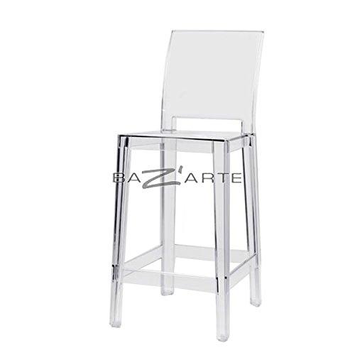 Kartell–Barhocker–One More Please–H75cm–Rückenlehne quadratisch–Kristall