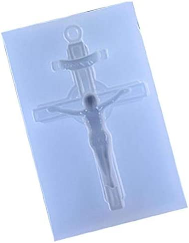 AMOYER 1pc Jesus Cross Crystal Epoxy Mold Silicone Polymer Clay Craft Mould DIY Resin Casting product image
