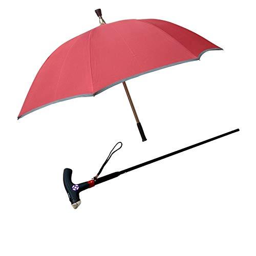 Wandelen Stick Zon Paraplu Paraplu Twee In Een Anti-Skid Schokriet Paraplu Multi-Functie Intelligente Elektronische Rietparaplu Rood, Oplaadbaar