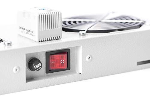DIGITUS Dachlüftereinheit für Wandgehäuse - 276 m³/h freiblasender Volumenstrom - 2x Lüfter - Thermostat - Grau