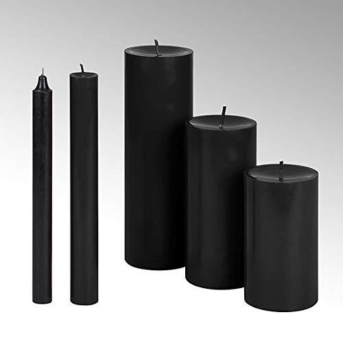 Lambert Kerze rund durchgefärbt schwarz, H 25 cm, D 2,1 cm 39630