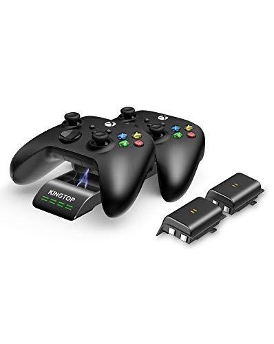 KINGTOP Station de Chargement pour Manettes Xbox Series S / X Dock de Chargeur Rapide avec 2 Batteries Rechargeables 1200mAh et Câble USB C