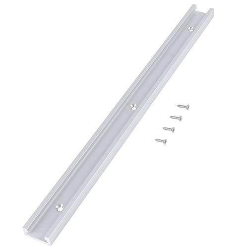 LANTRO JS - Riel en T de aleación de aluminio de 400 mm con ranuras en T para construcción y accesorios, riel en T con tornillos autoadhesivos para carpintería