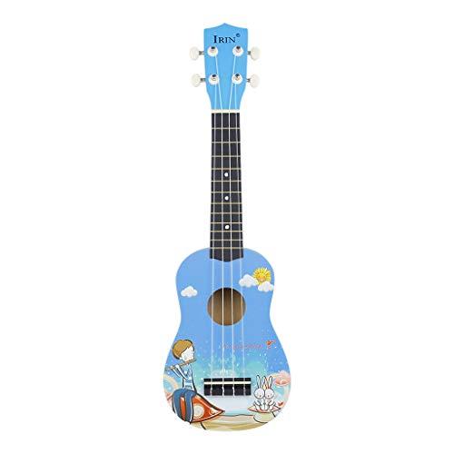 IOOOFU Ukelele Soprano de 21 Pulgadas Guitarra de 4 Cuerdas + Cuerda + Púa para Principiantes Kid - Azul