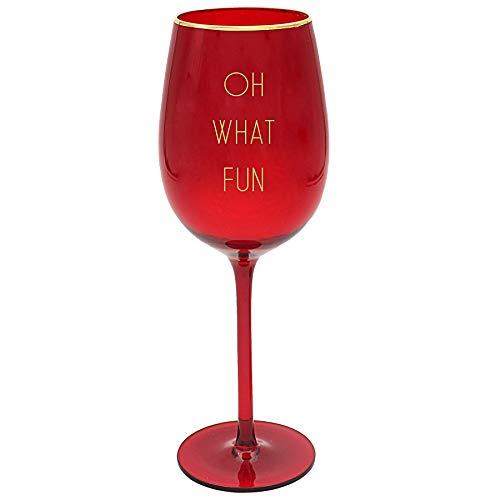 Rode kerst wijnglas met gouden tekst - Oh Wat leuk 9654