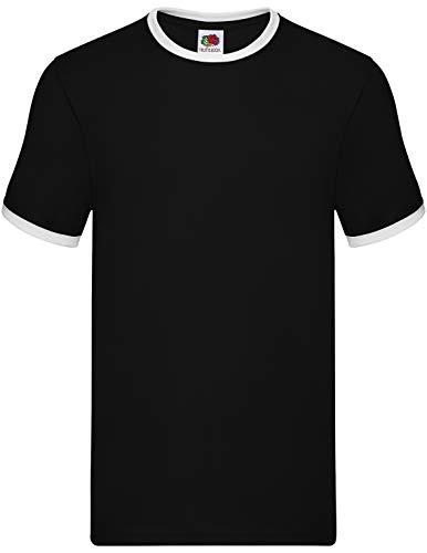Fruit of the Loom Ringer-T-Shirt SS168 Gr. L, schwarz / weiß