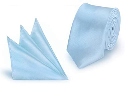 StickandShine Krawatte + Einstecktuch Hellblau slim aus Polyester einfarbig uni schmale 5 cm