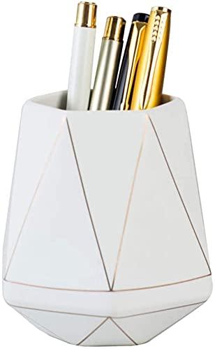 Soporte de cerámica para bolígrafo de escritorio Golden Line Lápiz Vaso Maceta Escritorio Organizador ordenado Soporte de pincel de maquillaje