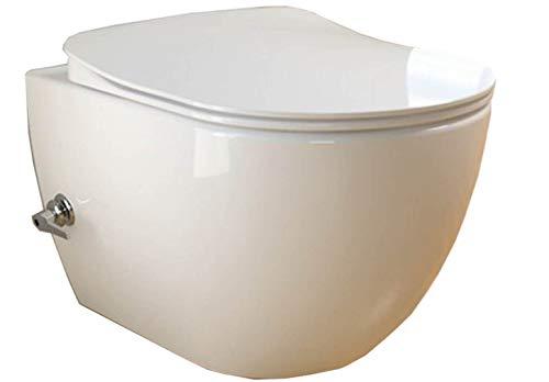 CREAVIT FE322.05 integrierten Kalt und Warmwasser Armatur SPÜLRANDLOS Hänge Dusch Wc Taharet Bidet Taharat Intimdusche inkl. Slim Soft-Close Deckel