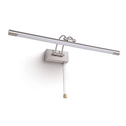 MantoLite LED Lampade da Parete per Quadri,12W IP44 3000K Camera da Letto Illuminazione per Interni con testa Girevole e Interruttore,Specchio da Bagno Illuminazioni per Pareti Lampade (Nichel, 60CM)