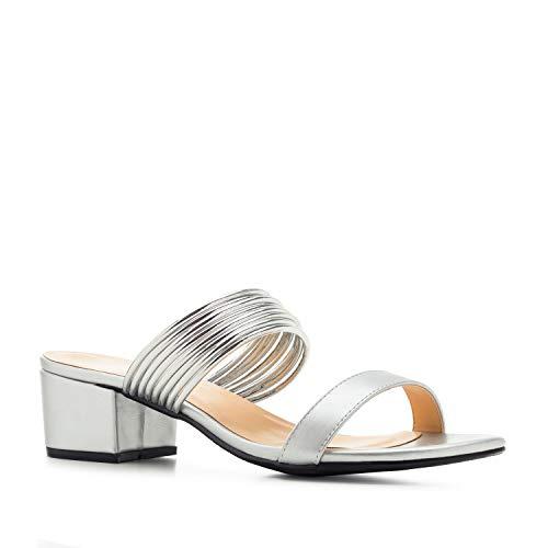Andres Machado Mules in Soft - Silber mit Blockabsatz für Damen und Junge Frauen - Pumps High Heels Sandalen Sandaletten mit Absatz AM5450 - EU 33