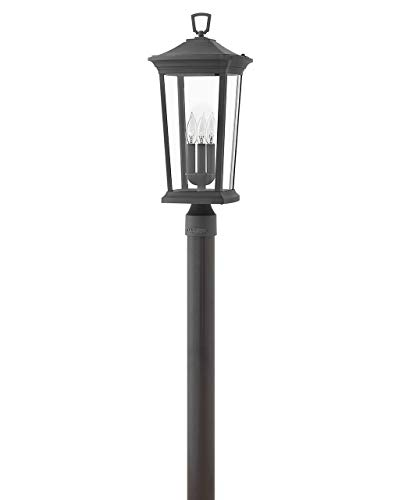 Hinkley Bromley Collection Three Light 12V 3.50W LED Low Voltage Outdoor Large Post Top or Pier Mount Lantern, Museum Black