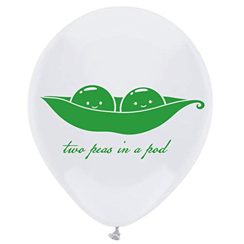Two Peas in a Pod Latex Balloons, 12inch (16pcs) Twins Baby Shower Or Birthday Party Decorations, Supplies