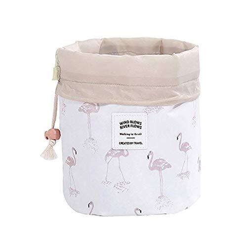 Lovemay Sac cosmétique de cylindre floral de style flamant blanc de style de 23X17CM