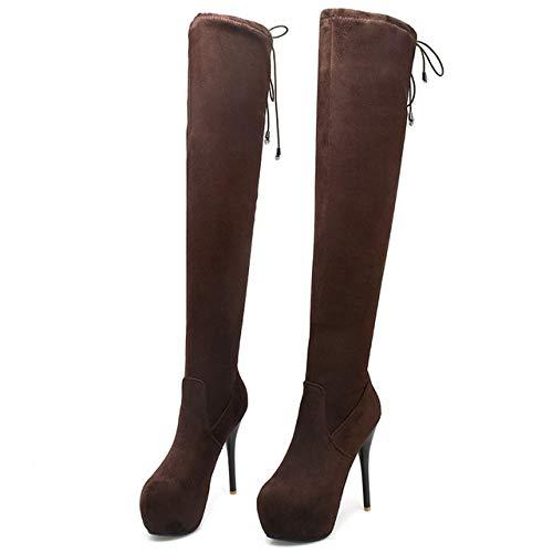SHZSMHD Mode Ultra High Heel met waterdicht platform Stiletto Elastic Slim Overknee laarzen dijen hoge lange laarzen