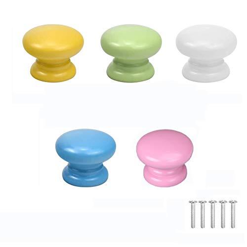 Riveryy 5 Pezzi Pomelli per Cassetti Legno Pomelli per Mobili Porte Colorate Manopole per Armadi e Cassetti Manopole con Viti (verde Chiaro Rosa Rossa Bianco Giallo Azzurro)