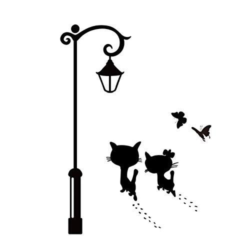 YUIOP Lindo gato caminando bajo la luz de la calle pegatina de pared sala de estar dormitorio armario decoración Muralcalcomanías pegatinas papel tapiz