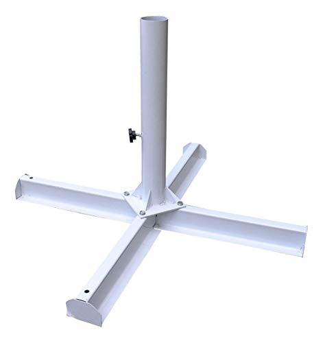 VIS Metallkreuz - Schirmständer sehr platzsparend, äußerst stabil - mit Rohr Ø65,5 mm, für Schirme mit Schirmast 60,00 mm - Verwendung mit 4xBetonplatten 400x400x50 mm, min. je 18 kg (nicht enthalten)