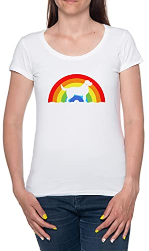 Orgullo arcoíris Perro Dueño LGBT Camiseta De Las Mujeres Manga Corta Blanco T-Shirt Women White tee M
