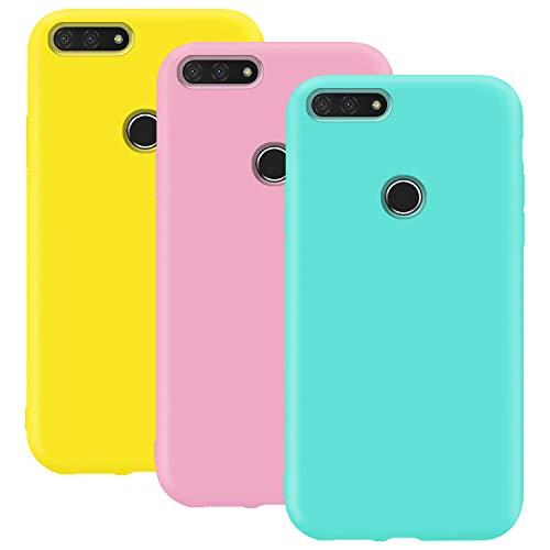 Coque en Silicone pour Huawei Y6 2018, Misstars Ultra Mince Souple TPU Gel Mat Bumper Doux Léger Anti Rayure Antichoc Housse Étui de Protection pour Huawei Honor 7A / Y6 2018, Jaune + Rose + Bleu