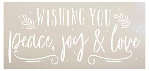 Wishing Peace Joy & Love Stencil by StudioR12   DIY Christmas Holiday Laurel Home Decor   Craft & Paint Wood Sign   Reusable Mylar Template   Cursive Script Gift SELECT SIZE (13.5 inches x 6.5 inches)