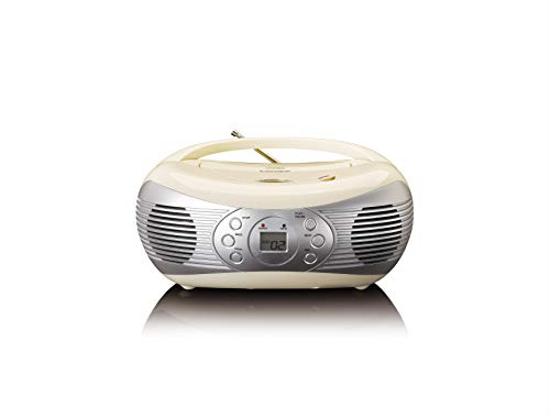 Lenco SCD-12 Retro CD-Radio - Nostalgie Radio - UKW Radio - CD-Player - Repeat-Funktion - Teleskopantenne - AUX-Eingang - Crème