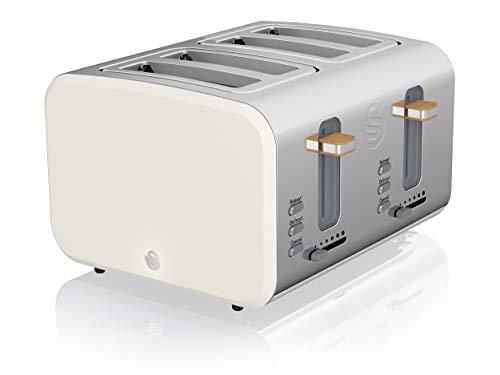 Swan 4 Slice Nordic Toaster Tostador (4 rebanada(s), Blanco, Acero inoxidable, 1500 W, 330 mm, 290 mm)