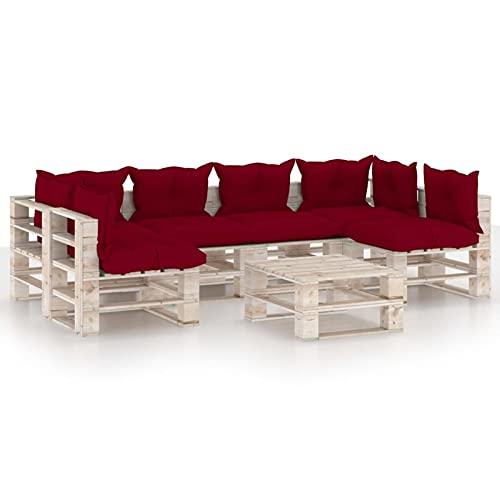 Fest-night Conjunto de Muebles de Jardín Palet, Conjunto de Sofás de Exterior de 7 Plazas, Mobiliario de Exterior Combinado Multifuncional, Conjunto de Sofás de Madera con Cojines y Mesa
