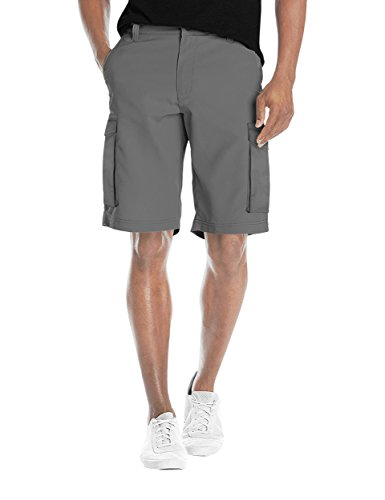Agile Mens Super Comfy Flex Waist Cargo Shorts ASH45171 Light Grey 32