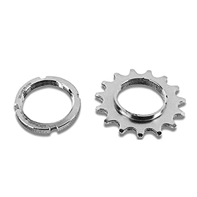 catazer 13T/14T/15T/16T/17T/18T Fixed Gear One Speed Bicycle Wheel Cogs Sprocket & Lockring for Fixie Track Bike Hub (14T Set)